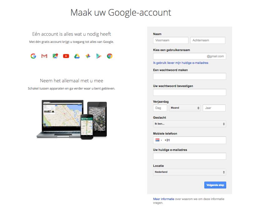 Stap 2 Google account aanmaken
