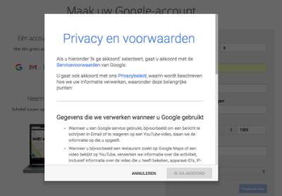 Stap 2 Privacy en Voorwaarden Google Account aanmaken