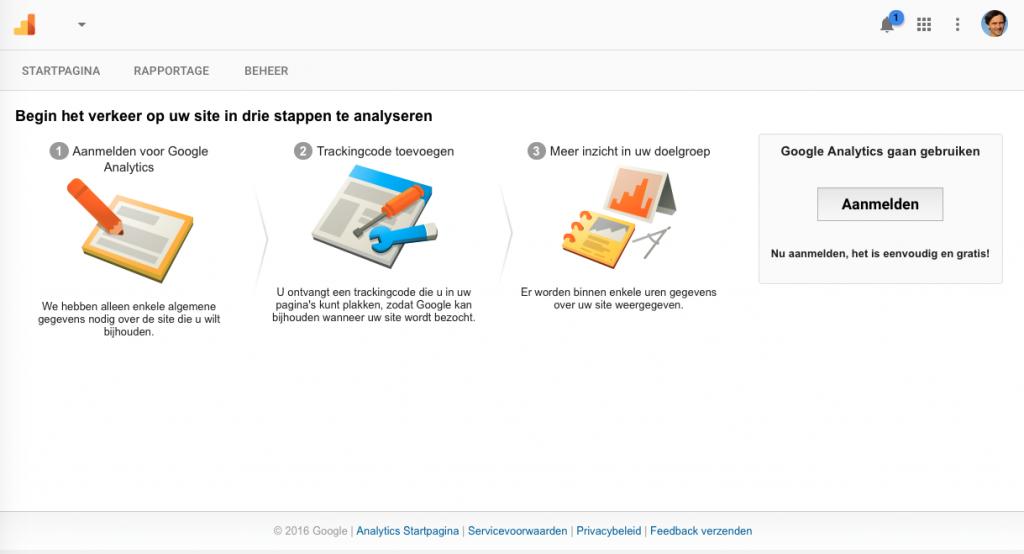 Stap 5 Google Analytics Startpagina