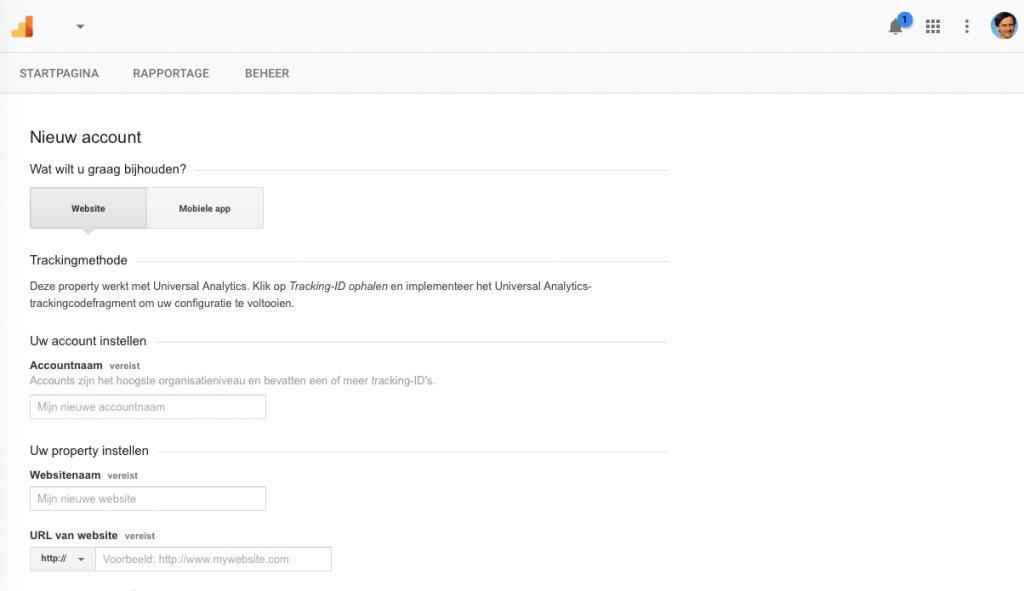 Stap 6 Eerste invulscherm Google Analytics