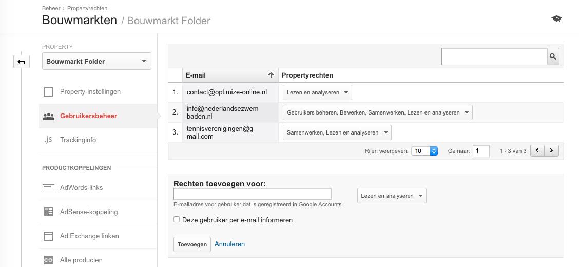 Google Analytics beheer rechten op property-niveau