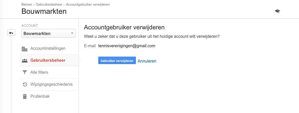 Gebruiker met rechten verwijderen uit Analytics