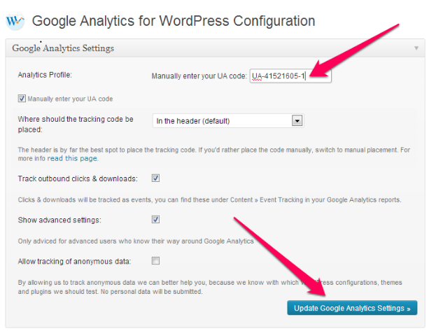 Google Analytics UA code WordPress Plugin Voorbeeld 2