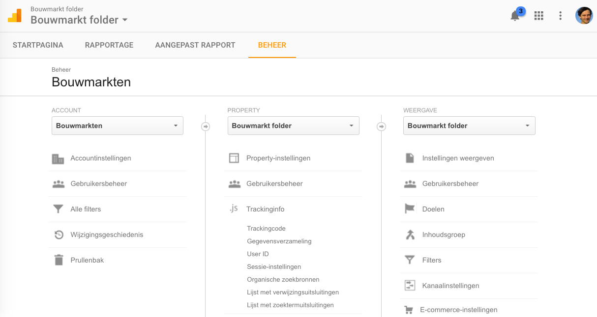 Google Analytics uitklapmenu Trackinginfo