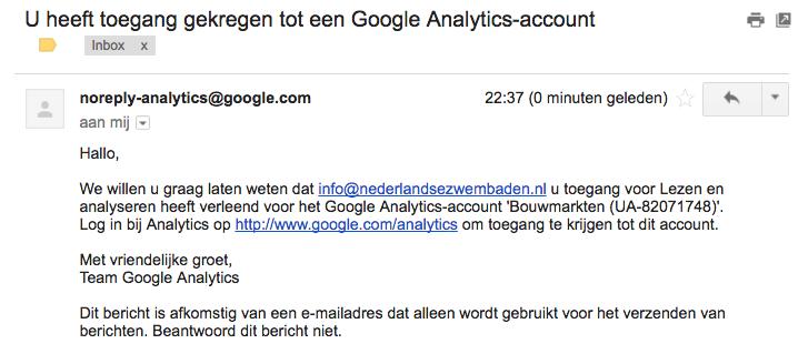 Mail bevestiging van rechten op een Google Analytics account