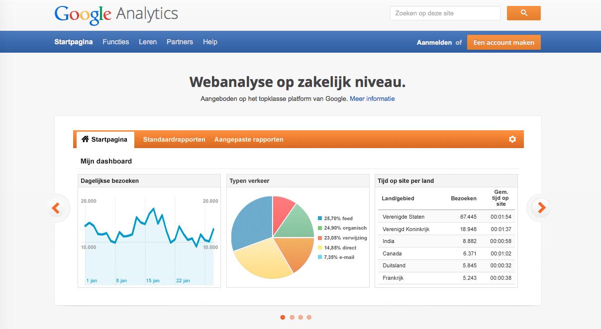 Stap 1 Aanmelden bij Google Analytics