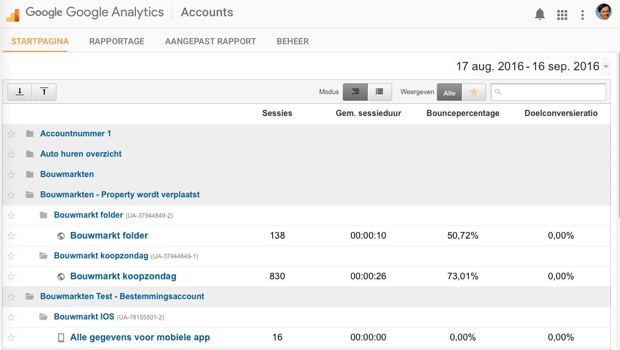 Stap 1 Google Analytics Property verplaatsen De structuur