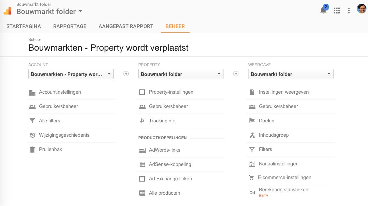 Stap 2B Google Analytics Property verplaatsen Kies juiste Property