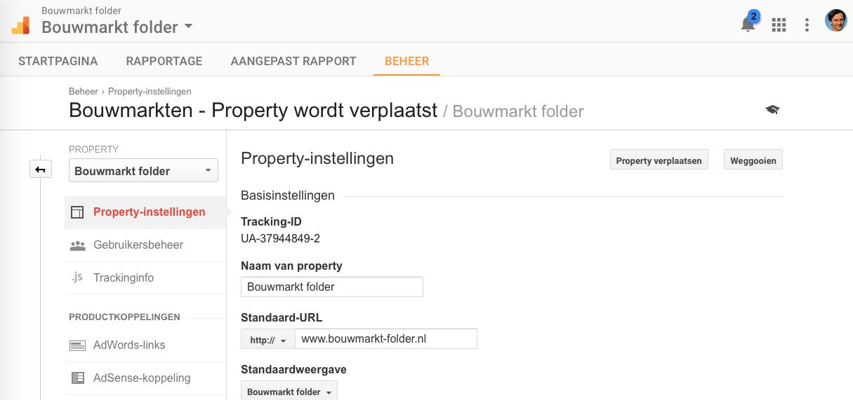 Stap 3 Google Analytics Property verplaatsen Klik op Property Verplaatsen