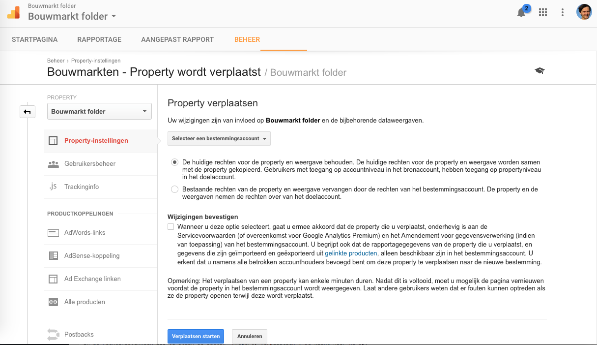 Stap 4A Google Analytics Property verplaatsen Verplaatsen Starten