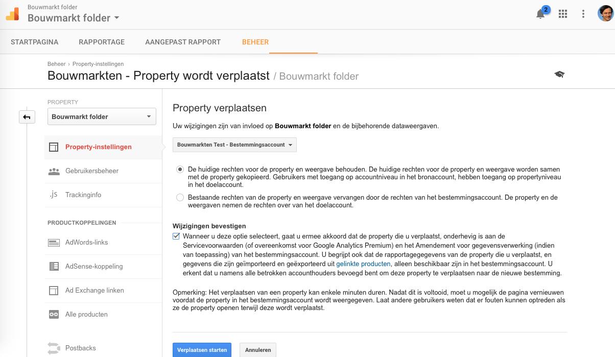Stap 4B Google Analytics Property verplaatsen Verplaatsen Starten met aangevinkte opties