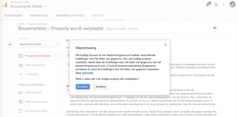 Stap 5 Google Analytics Property verplaatsen Waarschuwing