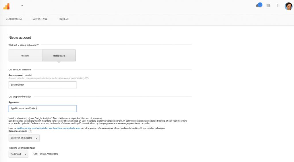 Stap 6B App data Google Analytics