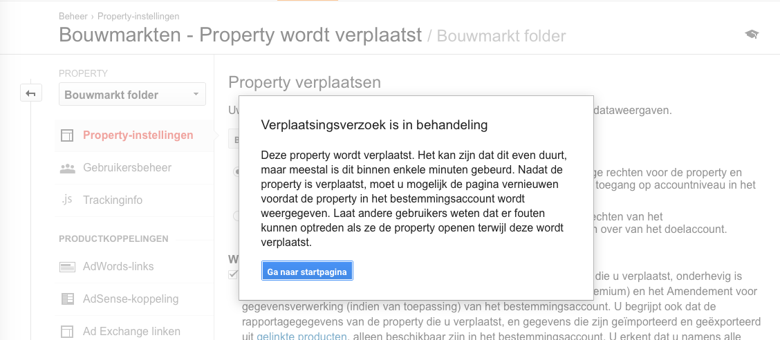 Stap 7 Google Analytics Property verplaatsen Verplaatsingsverzoek in behandeling