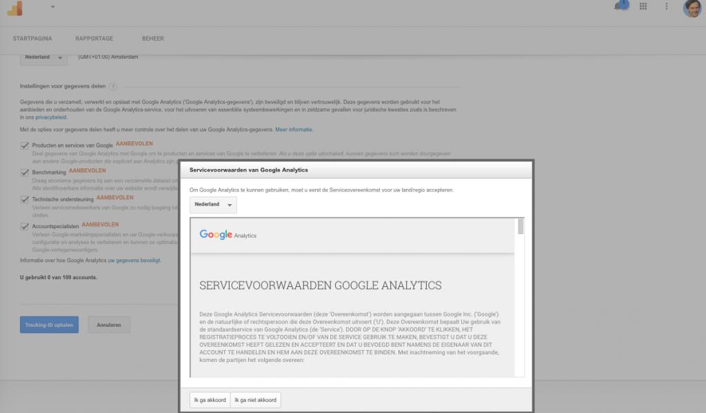 Stap 7 Servicevoorwaarden Google Analytics