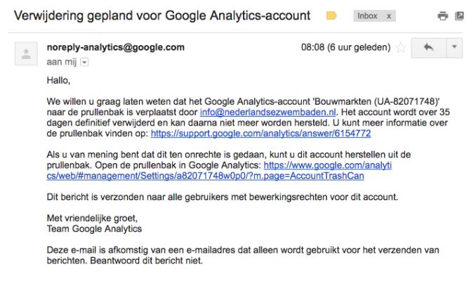 Stap 8 Verwijdering Google Analytics account