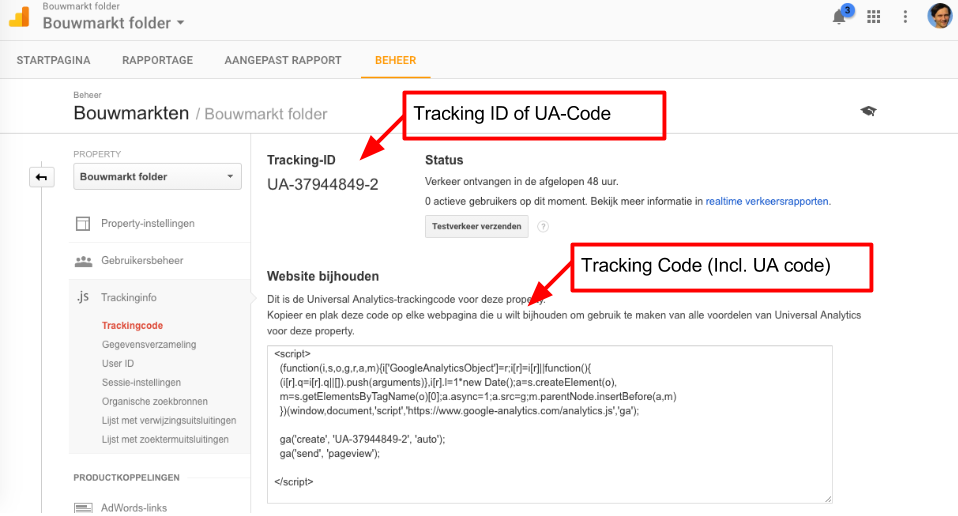 Tracking Code en Tracking ID